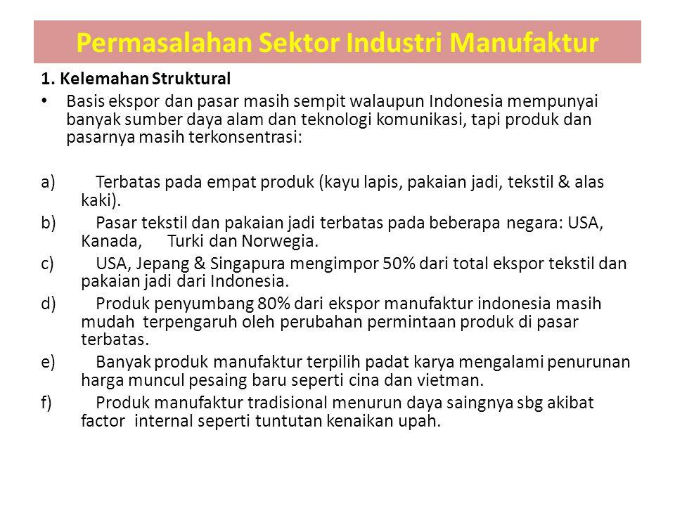 1. Kelemahan Struktural Basis ekspor dan pasar masih sempit walaupun Indonesia mempunyai banyak sumber daya alam dan teknologi komunikasi, tapi produk