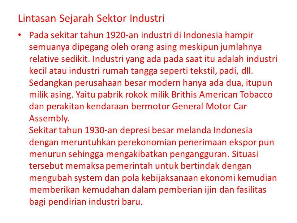 Pada sekitar tahun 1920-an industri di Indonesia hampir semuanya dipegang oleh orang asing meskipun jumlahnya relative sedikit. Industri yang ada pada