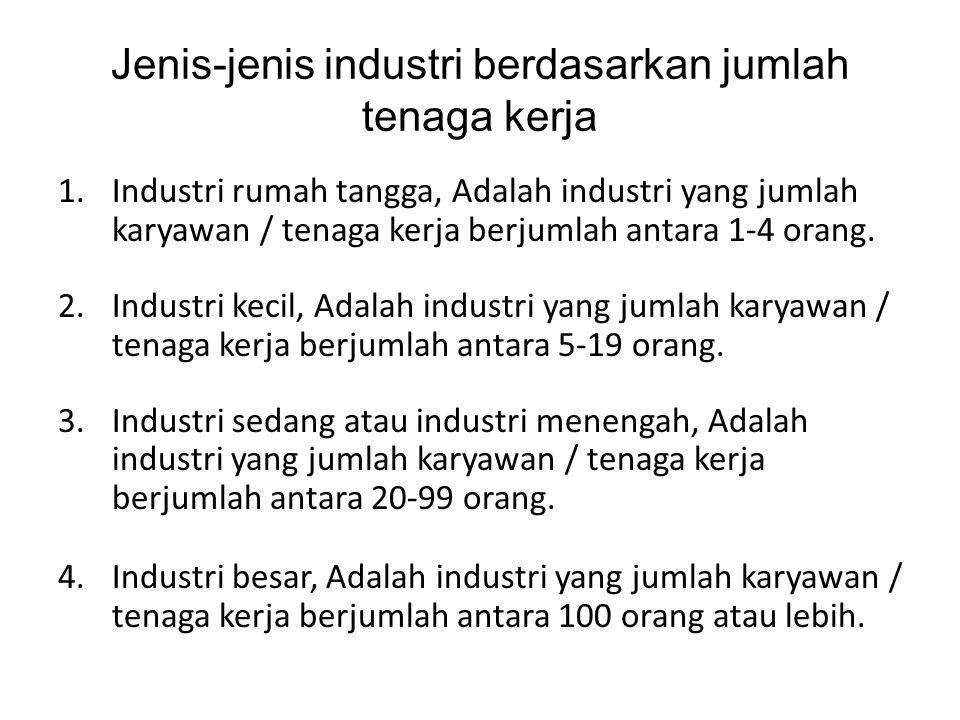 Jenis-jenis industri berdasarkan jumlah tenaga kerja 1.Industri rumah tangga, Adalah industri yang jumlah karyawan / tenaga kerja berjumlah antara 1-4