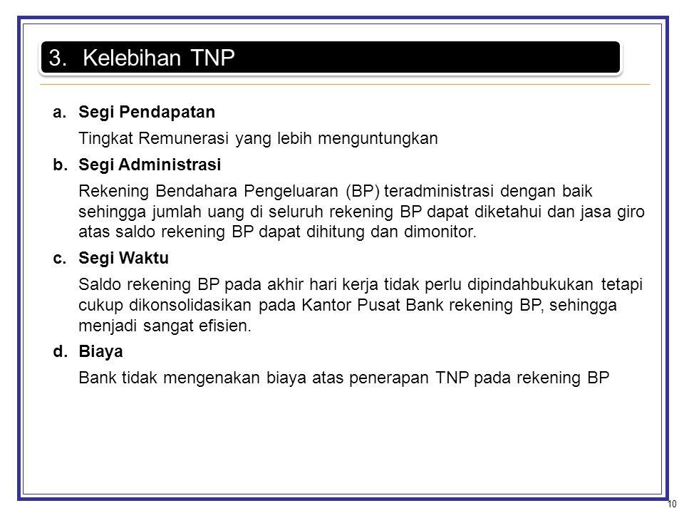 10 3.Kelebihan TNP a.Segi Pendapatan Tingkat Remunerasi yang lebih menguntungkan b.Segi Administrasi Rekening Bendahara Pengeluaran (BP) teradministra