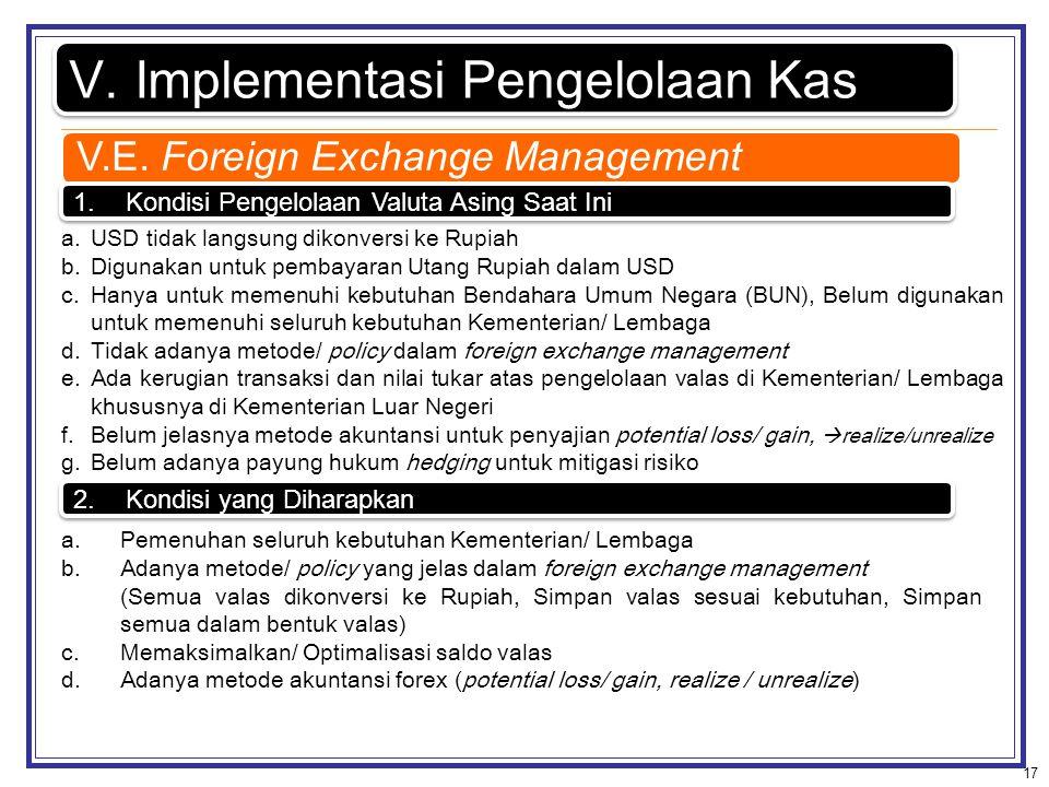 17 V.Implementasi Pengelolaan Kas 1.Kondisi Pengelolaan Valuta Asing Saat Ini a.USD tidak langsung dikonversi ke Rupiah b.Digunakan untuk pembayaran U