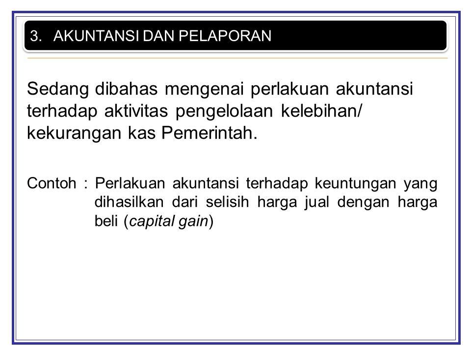 Sedang dibahas mengenai perlakuan akuntansi terhadap aktivitas pengelolaan kelebihan/ kekurangan kas Pemerintah. Contoh : Perlakuan akuntansi terhadap