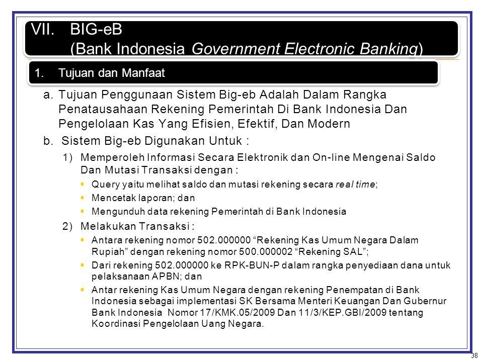 Penempatan/Investasi 38 VII.BIG-eB (Bank Indonesia Government Electronic Banking) VII.BIG-eB (Bank Indonesia Government Electronic Banking) a.Tujuan P
