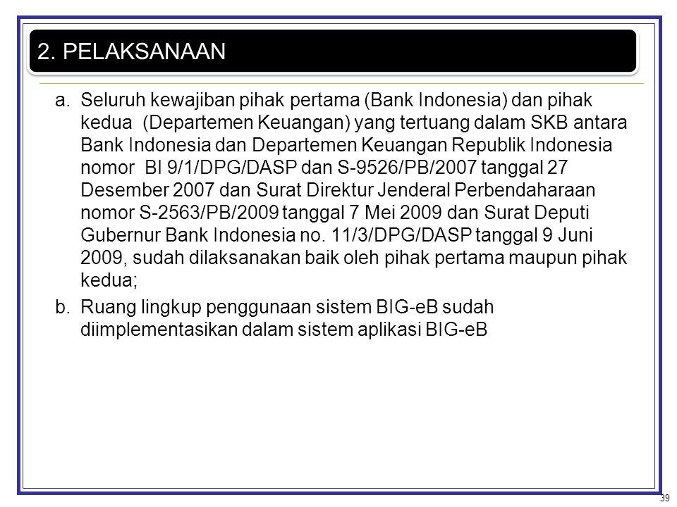 a.Seluruh kewajiban pihak pertama (Bank Indonesia) dan pihak kedua (Departemen Keuangan) yang tertuang dalam SKB antara Bank Indonesia dan Departemen