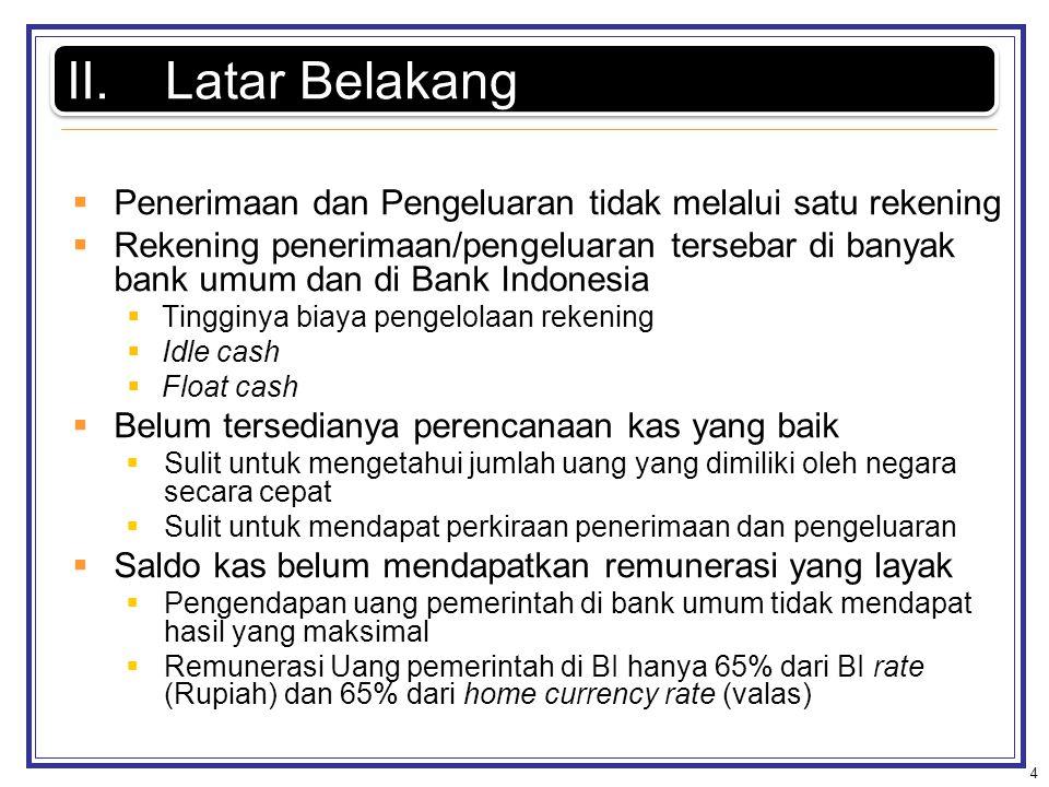  Penerimaan dan Pengeluaran tidak melalui satu rekening  Rekening penerimaan/pengeluaran tersebar di banyak bank umum dan di Bank Indonesia  Tinggi