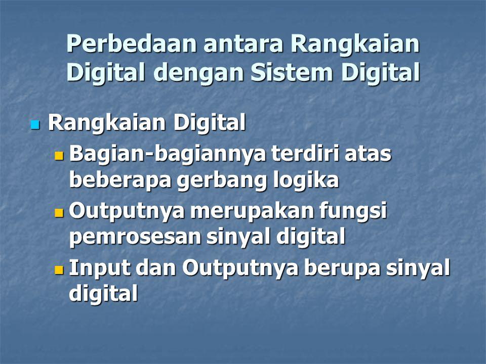 Perbedaan antara Rangkaian Digital dengan Sistem Digital Rangkaian Digital Rangkaian Digital Bagian-bagiannya terdiri atas beberapa gerbang logika Bag