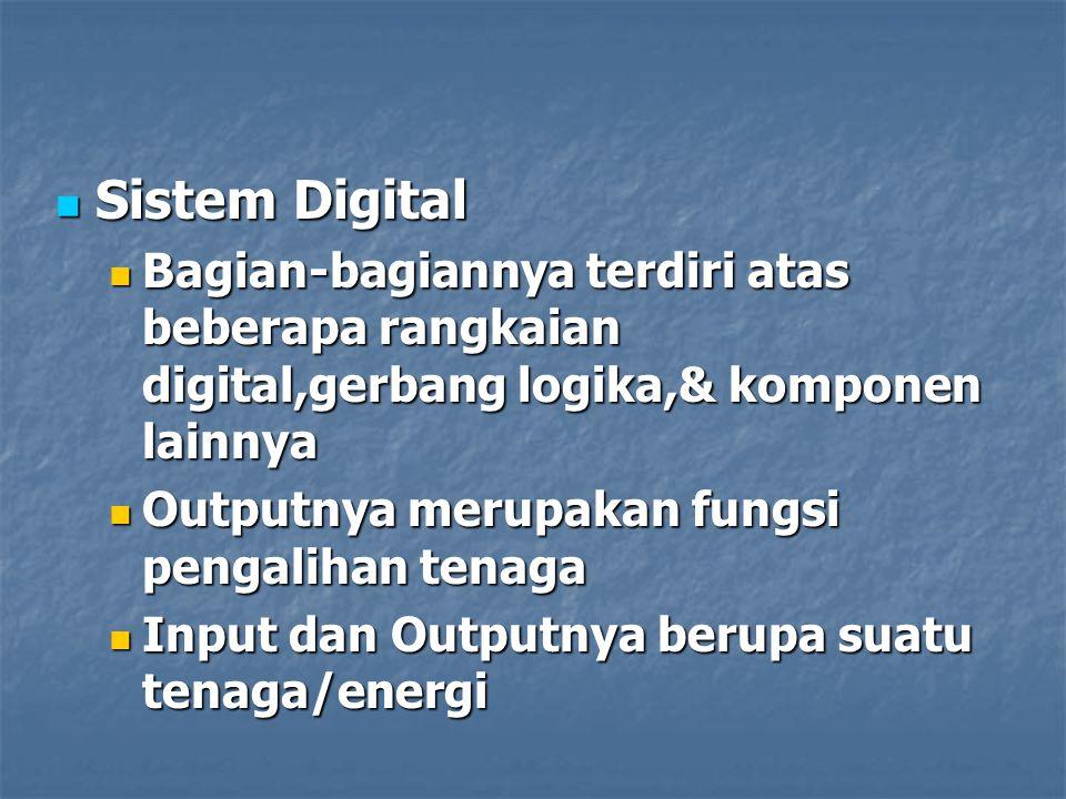 Sistem Digital Sistem Digital Bagian-bagiannya terdiri atas beberapa rangkaian digital,gerbang logika,& komponen lainnya Bagian-bagiannya terdiri atas