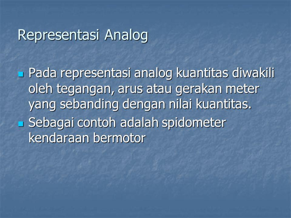 Representasi Analog Pada representasi analog kuantitas diwakili oleh tegangan, arus atau gerakan meter yang sebanding dengan nilai kuantitas. Pada rep