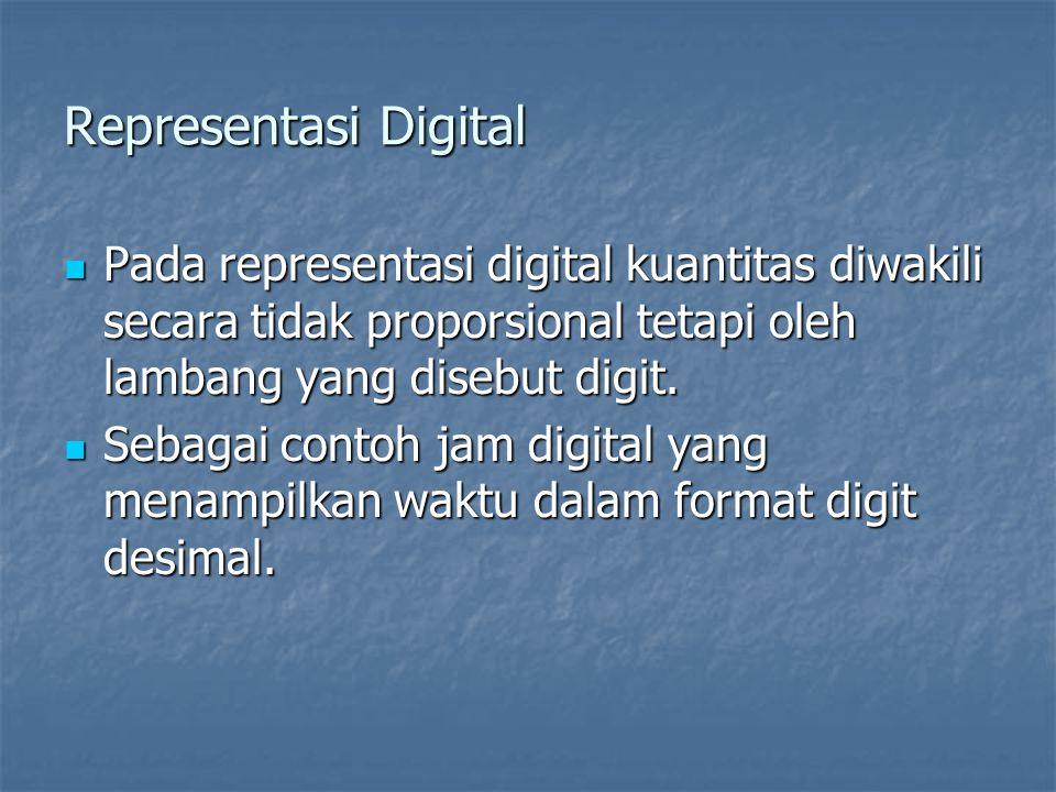 Representasi Digital Pada representasi digital kuantitas diwakili secara tidak proporsional tetapi oleh lambang yang disebut digit. Pada representasi
