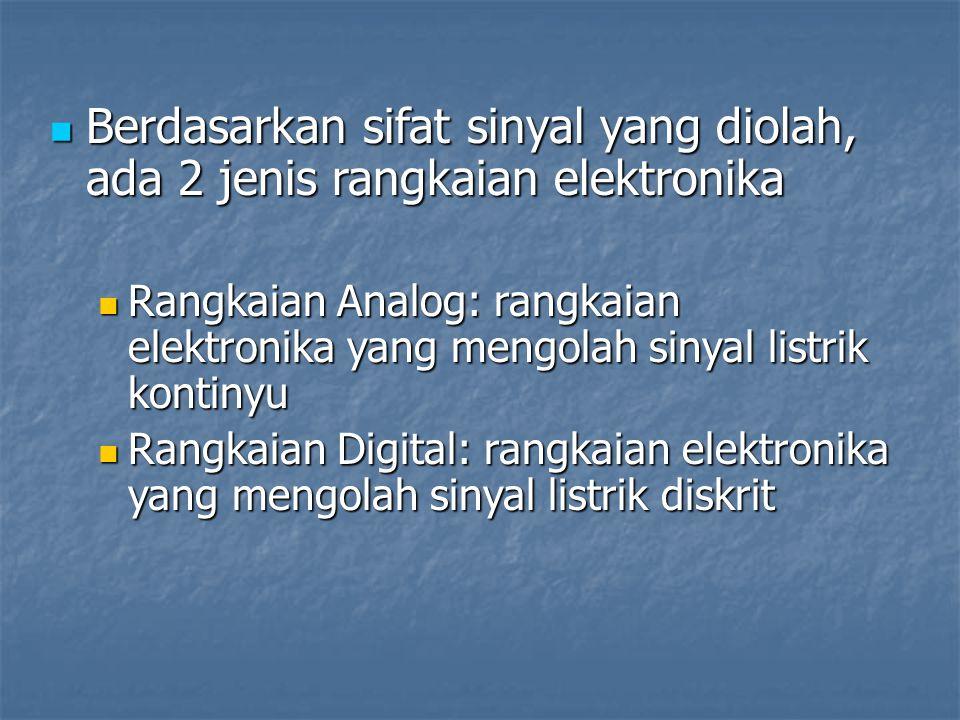 Berdasarkan sifat sinyal yang diolah, ada 2 jenis rangkaian elektronika Berdasarkan sifat sinyal yang diolah, ada 2 jenis rangkaian elektronika Rangka