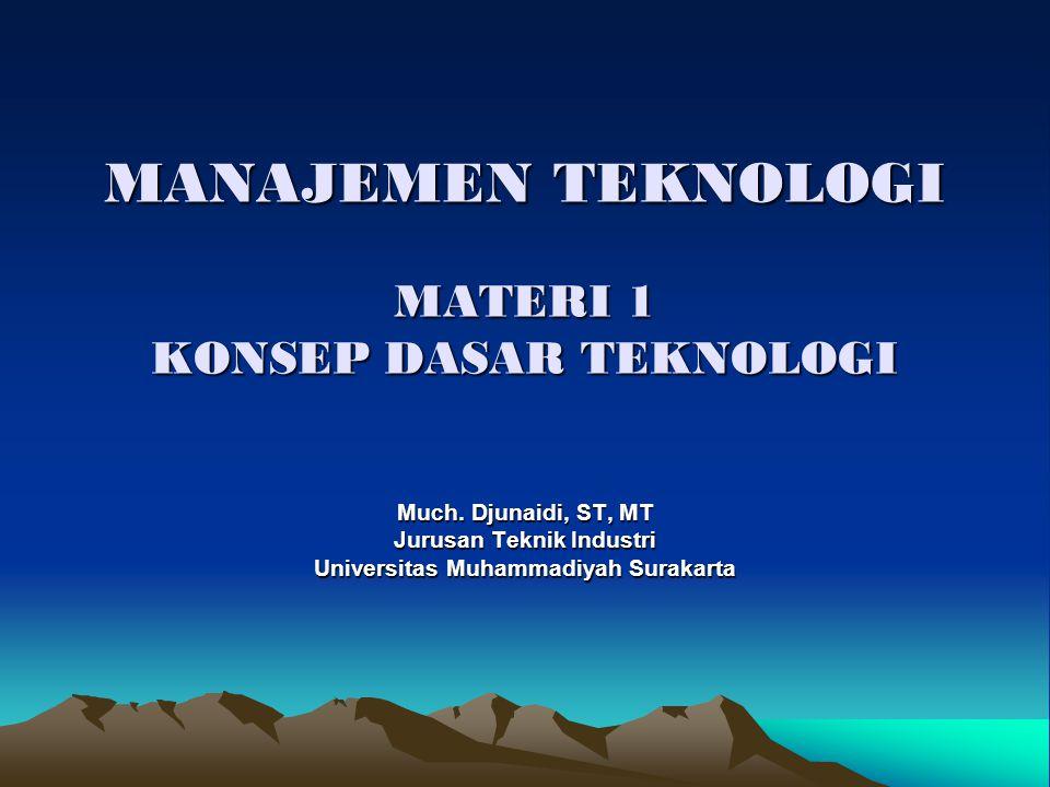 MANAJEMEN TEKNOLOGI MATERI 1 KONSEP DASAR TEKNOLOGI Much. Djunaidi, ST, MT Jurusan Teknik Industri Universitas Muhammadiyah Surakarta