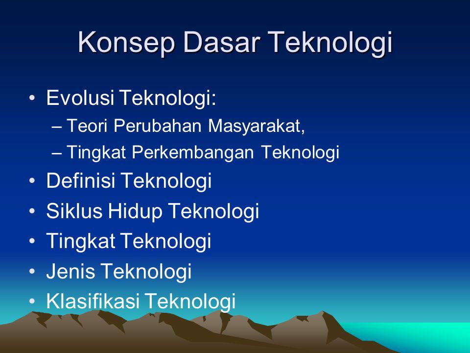 Konsep Dasar Teknologi Evolusi Teknologi: –Teori Perubahan Masyarakat, –Tingkat Perkembangan Teknologi Definisi Teknologi Siklus Hidup Teknologi Tingkat Teknologi Jenis Teknologi Klasifikasi Teknologi