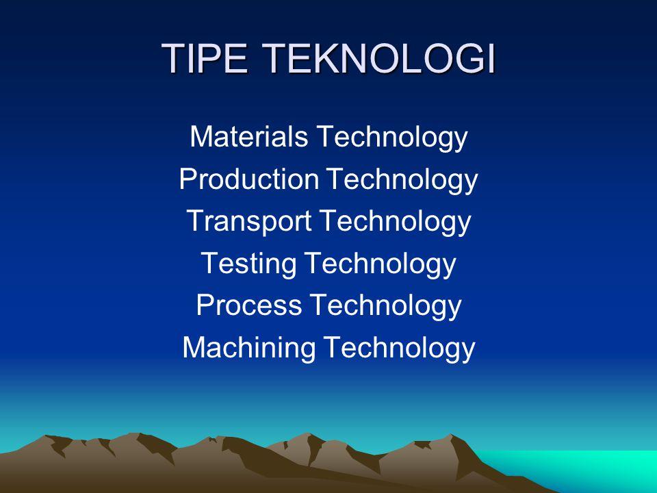 TIPE TEKNOLOGI Materials Technology Production Technology Transport Technology Testing Technology Process Technology Machining Technology