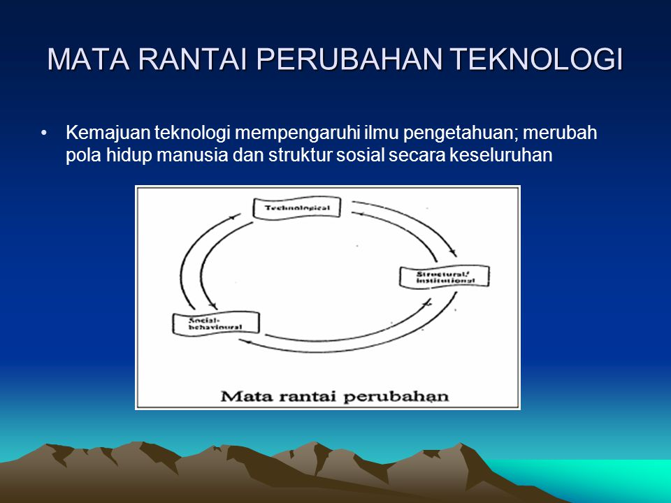 Klasifikasi Teknologi Berdasarkan Unsur (3) Technology of measurement, observation & control –Theory of measurement –Units & standards of measurement –Principles & processes by which instruments of measurement operate –Common types of measuring instruments –Special instrument & apparatus used in scientific research –Major systems of measurement & observation –Instrumentation & control systems
