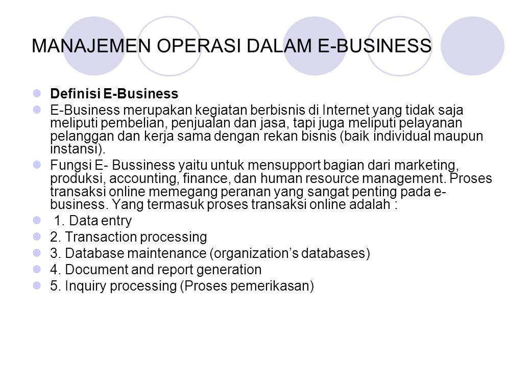 MANAJEMEN OPERASI DALAM E-BUSINESS Definisi E-Business E-Business merupakan kegiatan berbisnis di Internet yang tidak saja meliputi pembelian, penjual