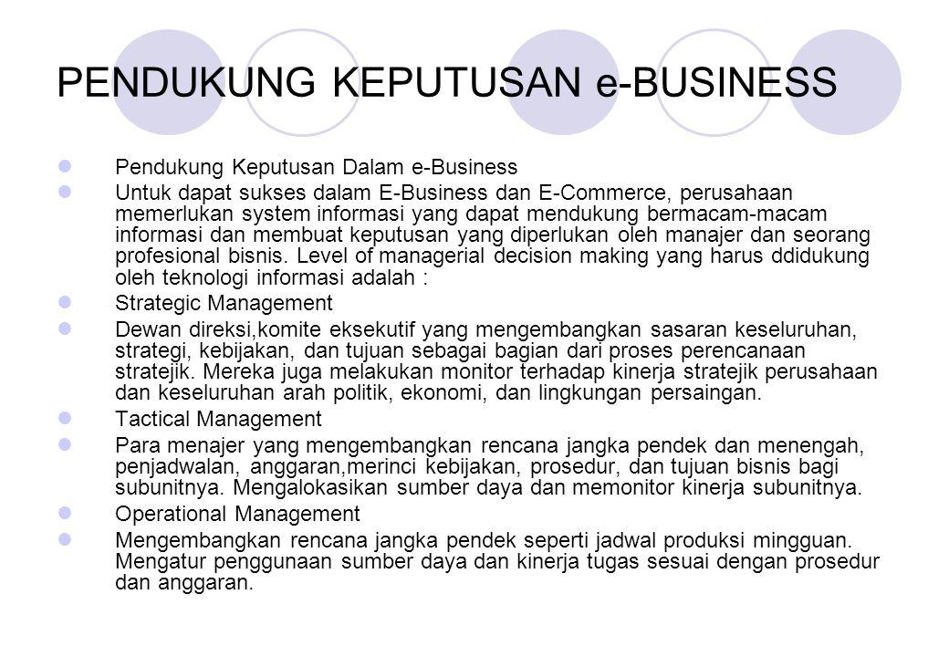 PENDUKUNG KEPUTUSAN e-BUSINESS Pendukung Keputusan Dalam e-Business Untuk dapat sukses dalam E-Business dan E-Commerce, perusahaan memerlukan system i