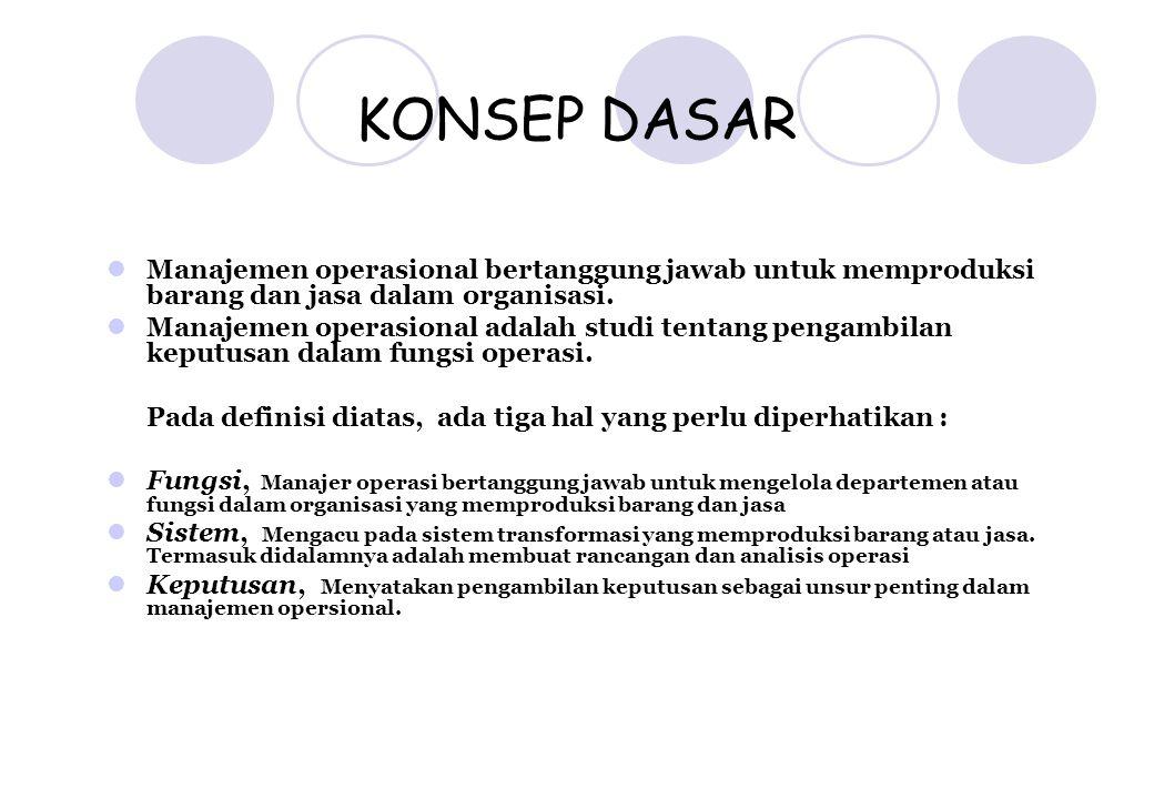 KONSEP DASAR Manajemen operasional bertanggung jawab untuk memproduksi barang dan jasa dalam organisasi. Manajemen operasional adalah studi tentang pe