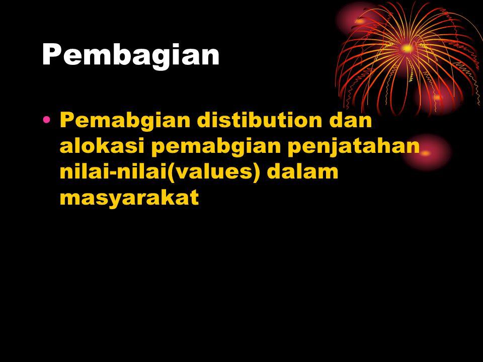 Pembagian Pemabgian distibution dan alokasi pemabgian penjatahan nilai-nilai(values) dalam masyarakat