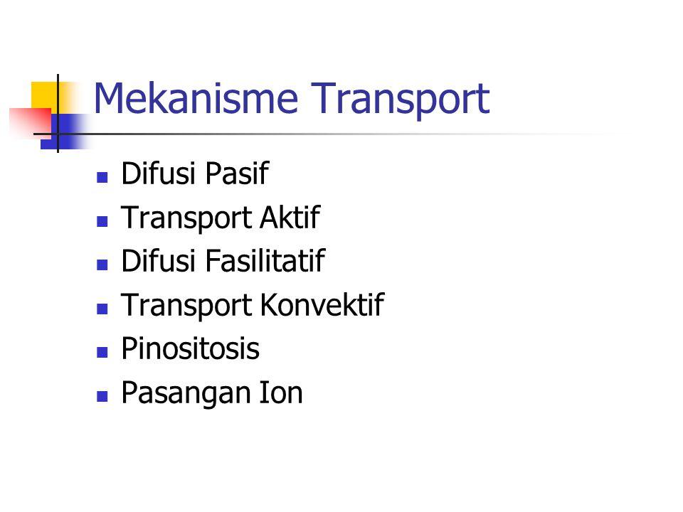 Mekanisme Transport Difusi Pasif Transport Aktif Difusi Fasilitatif Transport Konvektif Pinositosis Pasangan Ion
