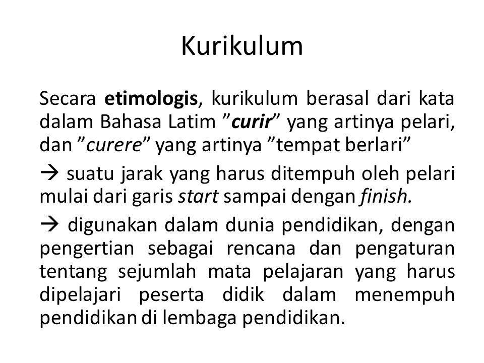Definisi Kurikulum Hilda Taba (1962) Curriculum is a plan for learning.