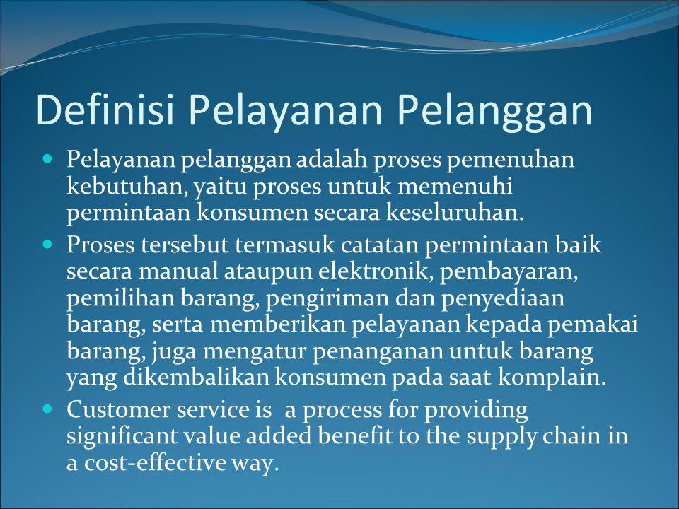 Definisi Pelayanan Pelanggan Pelayanan pelanggan adalah proses pemenuhan kebutuhan, yaitu proses untuk memenuhi permintaan konsumen secara keseluruhan