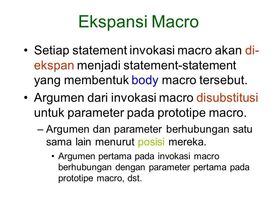 Setiap statement invokasi macro akan di- ekspan menjadi statement-statement yang membentuk body macro tersebut. Argumen dari invokasi macro disubstitu