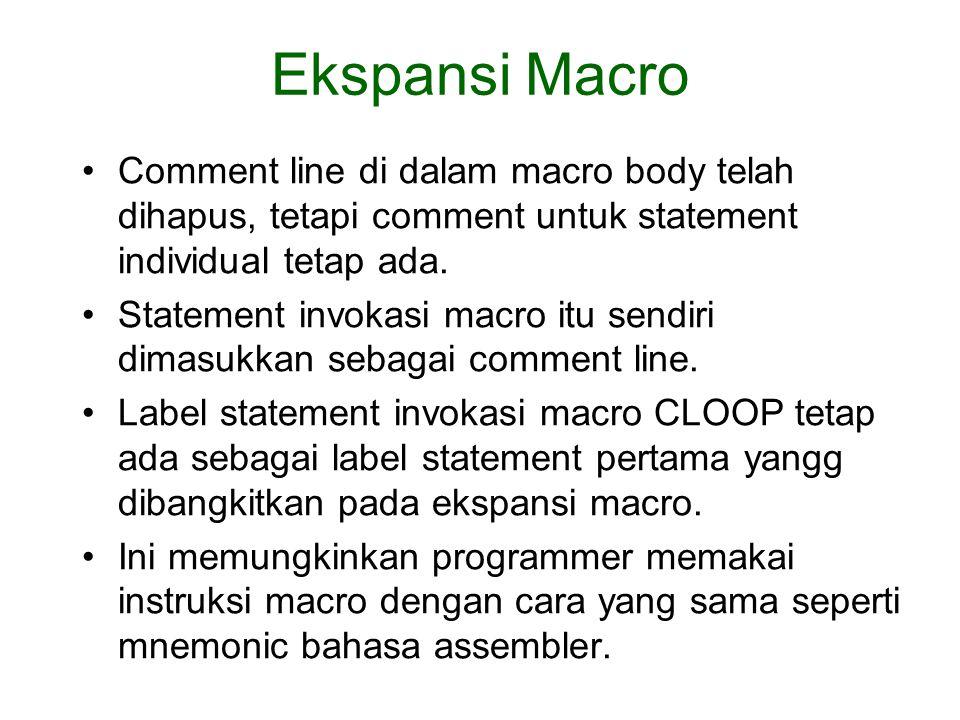 Comment line di dalam macro body telah dihapus, tetapi comment untuk statement individual tetap ada. Statement invokasi macro itu sendiri dimasukkan s