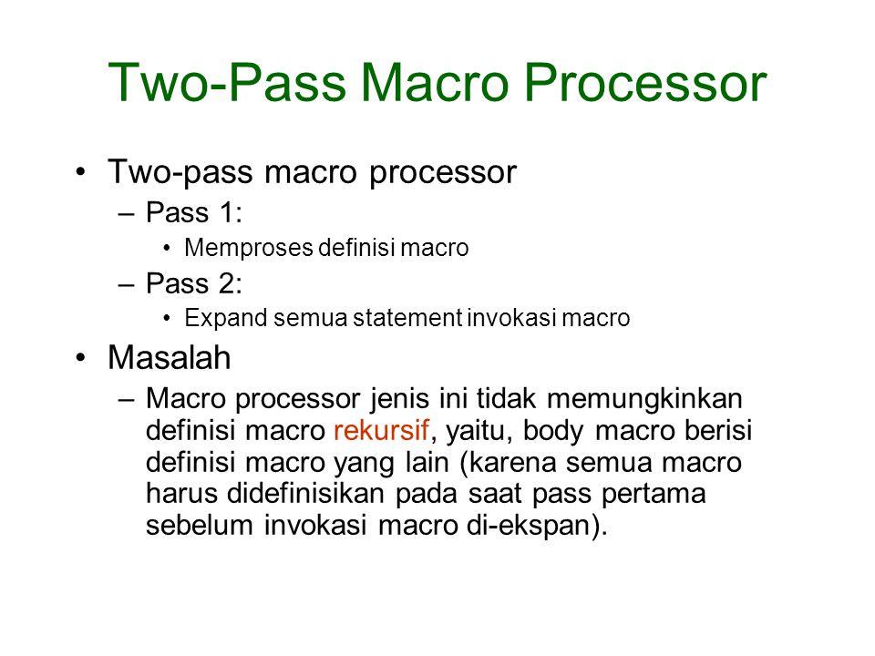 Two-pass macro processor –Pass 1: Memproses definisi macro –Pass 2: Expand semua statement invokasi macro Masalah –Macro processor jenis ini tidak mem