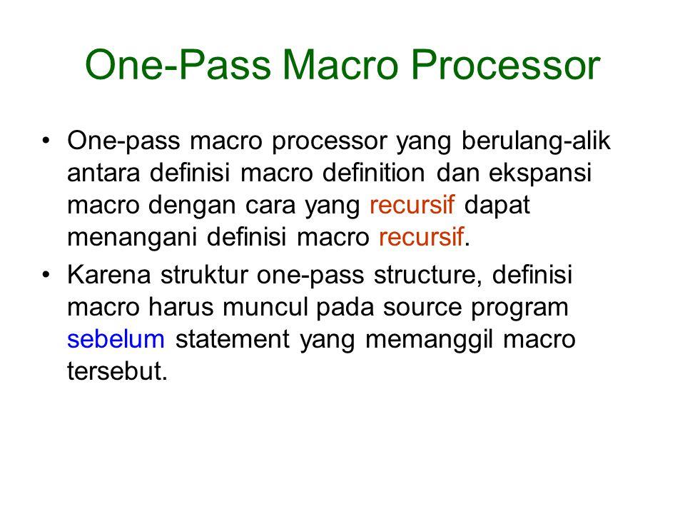 One-pass macro processor yang berulang-alik antara definisi macro definition dan ekspansi macro dengan cara yang recursif dapat menangani definisi mac