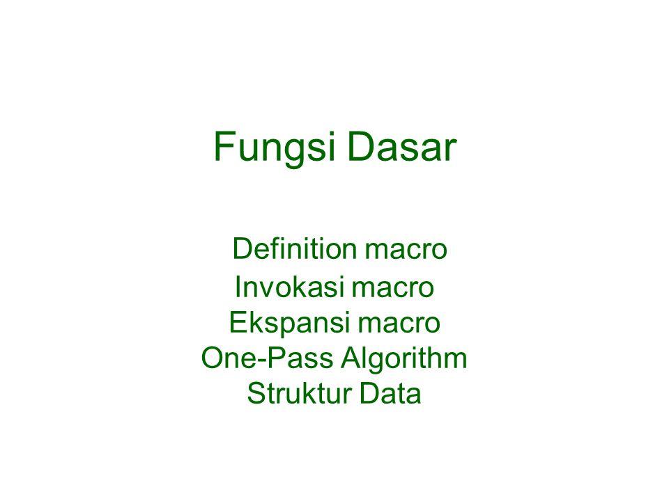 Fungsi Dasar Definition macro Invokasi macro Ekspansi macro One-Pass Algorithm Struktur Data