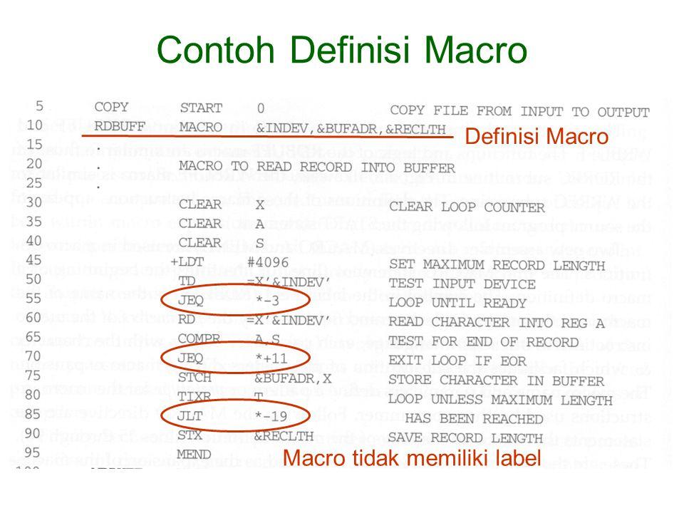 Macro tidak memiliki label Contoh Definisi Macro