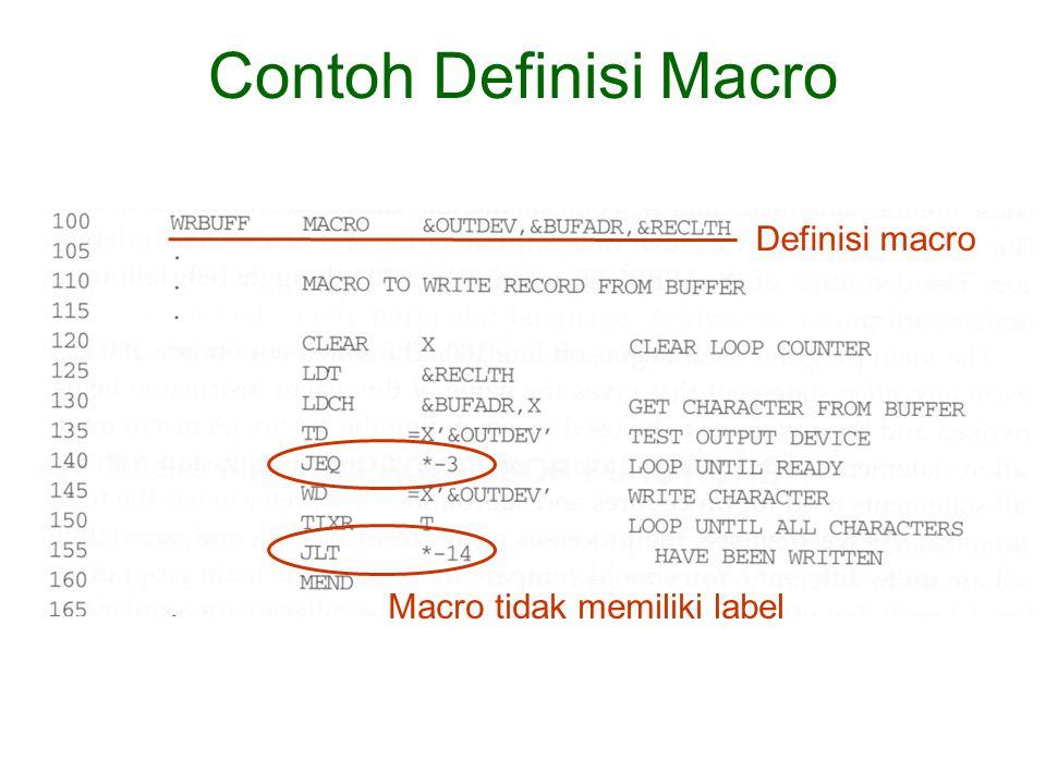 Definisi macro Contoh Definisi Macro Macro tidak memiliki label