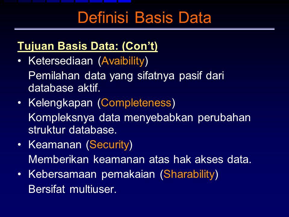 Definisi Basis Data Tujuan Basis Data: (Con't) Ketersediaan (Avaibility) Pemilahan data yang sifatnya pasif dari database aktif. Kelengkapan (Complete