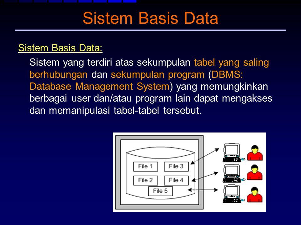 Sistem Basis Data Sistem Basis Data: Sistem yang terdiri atas sekumpulan tabel yang saling berhubungan dan sekumpulan program (DBMS: Database Manageme
