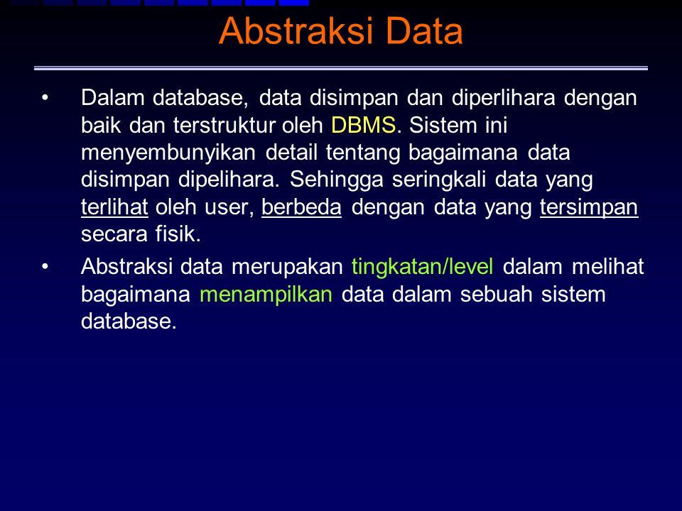 Abstraksi Data Dalam database, data disimpan dan diperlihara dengan baik dan terstruktur oleh DBMS. Sistem ini menyembunyikan detail tentang bagaimana