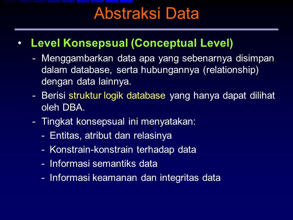 Abstraksi Data Level Konsepsual (Conceptual Level) -Menggambarkan data apa yang sebenarnya disimpan dalam database, serta hubungannya (relationship) d