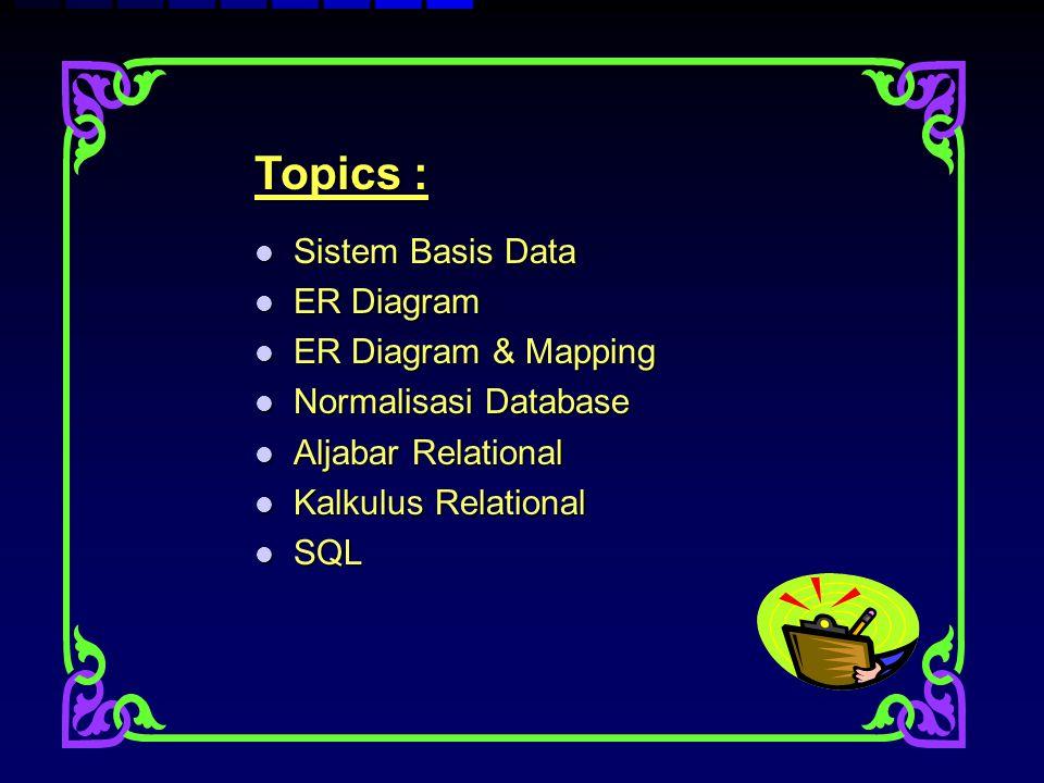 Topics : Sistem Basis Data Sistem Basis Data ER Diagram ER Diagram ER Diagram & Mapping ER Diagram & Mapping Normalisasi Database Normalisasi Database
