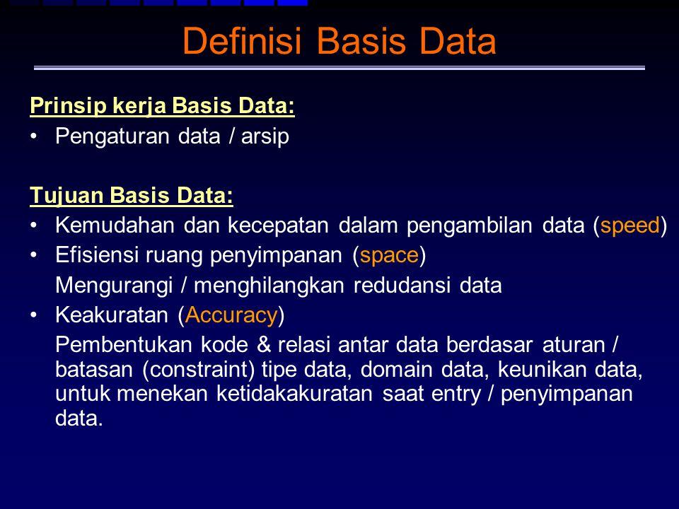 Definisi Basis Data Prinsip kerja Basis Data: Pengaturan data / arsip Tujuan Basis Data: Kemudahan dan kecepatan dalam pengambilan data (speed) Efisie