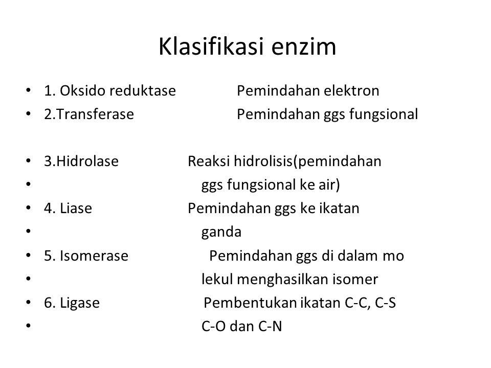 Klasifikasi enzim 1. Oksido reduktase Pemindahan elektron 2.Transferase Pemindahan ggs fungsional 3.Hidrolase Reaksi hidrolisis(pemindahan ggs fungsio