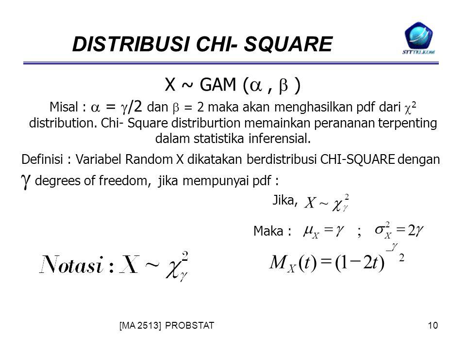 [MA 2513] PROBSTAT10 DISTRIBUSI CHI- SQUARE X ~ GAM ( ,  ) Misal :  =  /2 dan  = 2 maka akan menghasilkan pdf dari  2 distribution.
