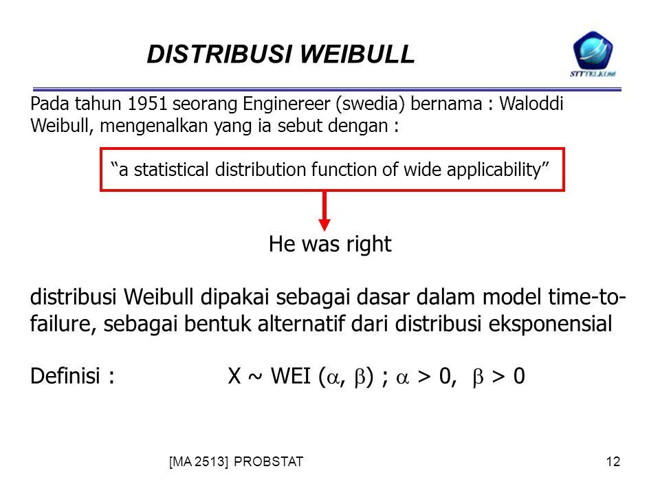 [MA 2513] PROBSTAT12 DISTRIBUSI WEIBULL Pada tahun 1951 seorang Enginereer (swedia) bernama : Waloddi Weibull, mengenalkan yang ia sebut dengan : a statistical distribution function of wide applicability He was right distribusi Weibull dipakai sebagai dasar dalam model time-to- failure, sebagai bentuk alternatif dari distribusi eksponensial Definisi :X ~ WEI ( ,  ) ;  > 0,  > 0