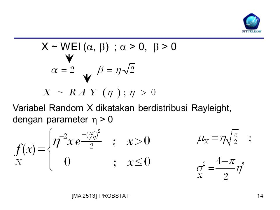 [MA 2513] PROBSTAT14 X ~ WEI ( ,  ) ;  > 0,  > 0 Variabel Random X dikatakan berdistribusi Rayleight, dengan parameter  > 0