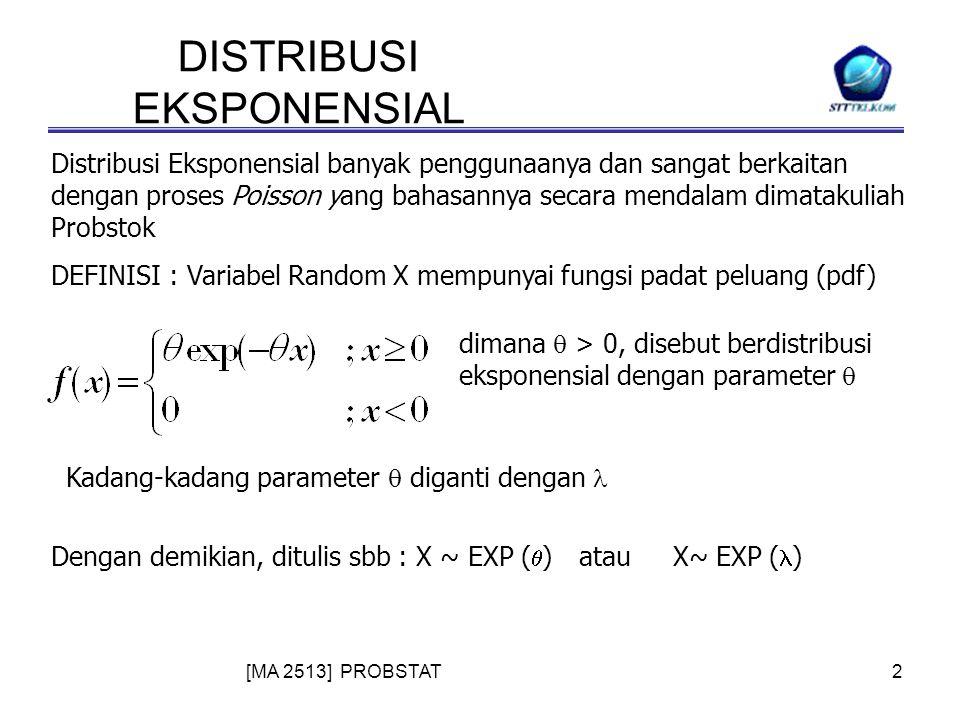 [MA 2513] PROBSTAT2 DISTRIBUSI EKSPONENSIAL Distribusi Eksponensial banyak penggunaanya dan sangat berkaitan dengan proses Poisson yang bahasannya secara mendalam dimatakuliah Probstok DEFINISI : Variabel Random X mempunyai fungsi padat peluang (pdf) dimana  > 0, disebut berdistribusi eksponensial dengan parameter  Dengan demikian, ditulis sbb : X ~ EXP (  ) atau X~ EXP ( ) Kadang-kadang parameter  diganti dengan