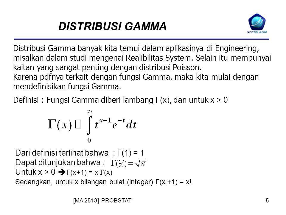 [MA 2513] PROBSTAT5 DISTRIBUSI GAMMA Distribusi Gamma banyak kita temui dalam aplikasinya di Engineering, misalkan dalam studi mengenai Realibilitas System.