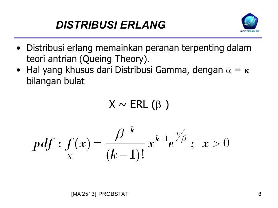 [MA 2513] PROBSTAT8 DISTRIBUSI ERLANG Distribusi erlang memainkan peranan terpenting dalam teori antrian (Queing Theory).