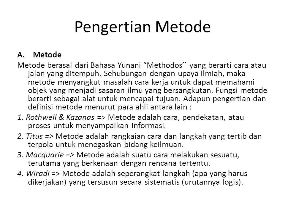"""Pengertian Metode A. Metode Metode berasal dari Bahasa Yunani """"Methodos'' yang berarti cara atau jalan yang ditempuh. Sehubungan dengan upaya ilmiah,"""