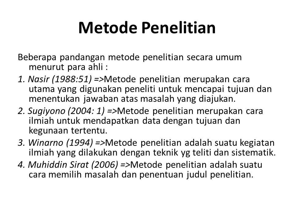 Metode Penelitian Beberapa pandangan metode penelitian secara umum menurut para ahli : 1. Nasir (1988:51) =>Metode penelitian merupakan cara utama yan