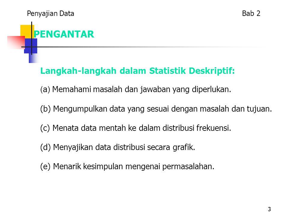 3 PENGANTAR Langkah-langkah dalam Statistik Deskriptif: (a) Memahami masalah dan jawaban yang diperlukan. (b) Mengumpulkan data yang sesuai dengan mas
