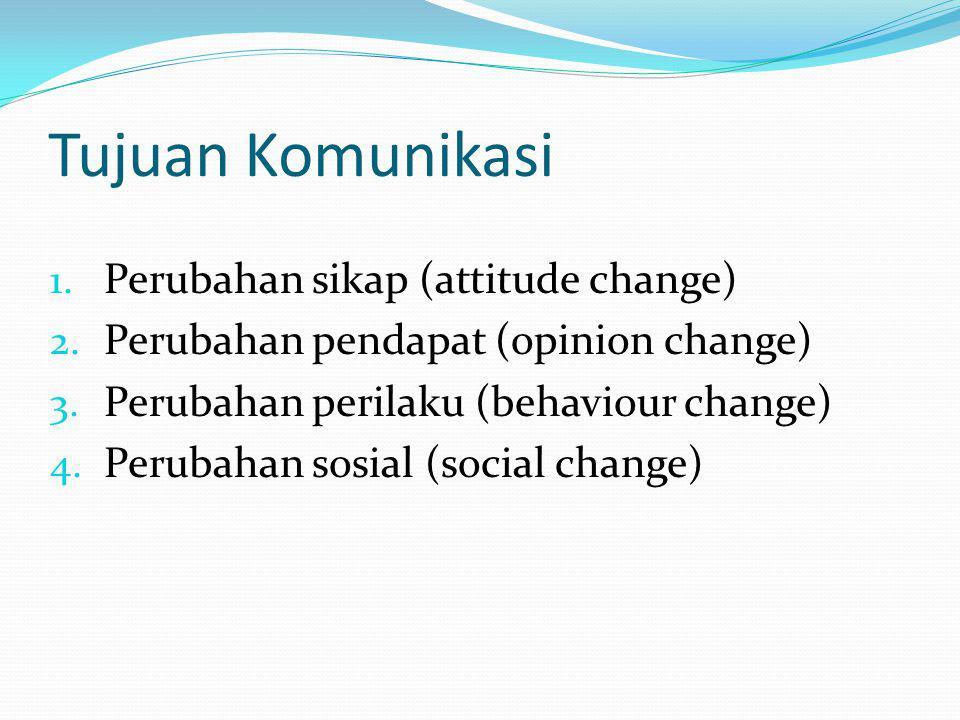 Tujuan Komunikasi 1. Perubahan sikap (attitude change) 2. Perubahan pendapat (opinion change) 3. Perubahan perilaku (behaviour change) 4. Perubahan so