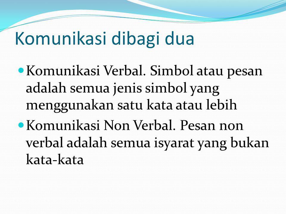 Komunikasi dibagi dua Komunikasi Verbal. Simbol atau pesan adalah semua jenis simbol yang menggunakan satu kata atau lebih Komunikasi Non Verbal. Pesa